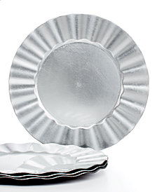 Jay Imports Chargers, Ruffled Set of 4 Silver Charger  Plates