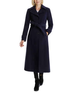 1930s Style Coats, Jackets | Art Deco Outerwear Anne Klein Single-Breasted Belted Maxi Coat Created for Macys $189.00 AT vintagedancer.com