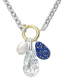 "Two-Tone Crystal & Imitation Pearl Removable Charm Water Pendant Necklace, 17-5/8"" + 2"" extender"