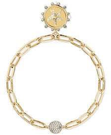 Gold-Tone Crystal & Imitation Pearl Starfish/DREAMER Water Medallion Magnetic Link Bracelet