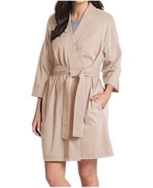 Women's Short Cotton Wrap Robe