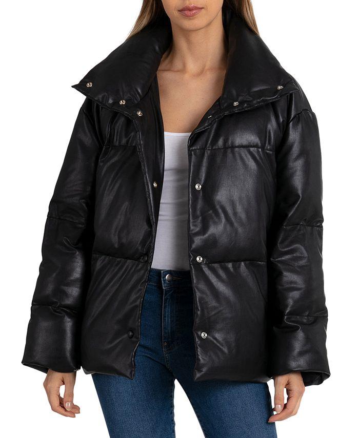 Avec Les Filles - Faux-Leather Puffer Coat