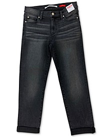 Juniors' Cotton Roll-Cuff Girlfriend Jeans