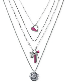 "Silver-Tone Pavé Heart, Flower, & Logo Layered Pendant Necklace, 18"" + 2"" extender"