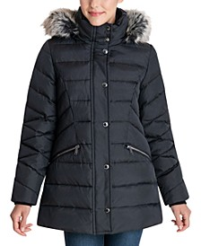 Faux-Fur Trim Hooded Down Puffer Coat