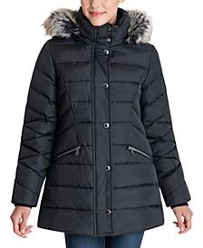 Petite Faux-Fur-Trim Hooded Down Puffer Coat