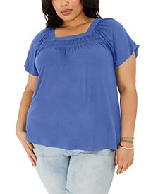 Plus Size Square-Neck Top, Created for Macy's