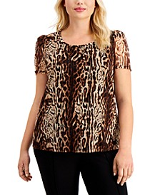 INC Plus Size Printed Puff-Sleeve Top, Created for Macy's
