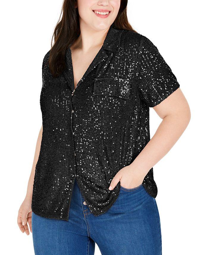 INC International Concepts - Plus Size Sequined Blouse