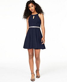 Juniors' Embellished Fit & Flare Dress
