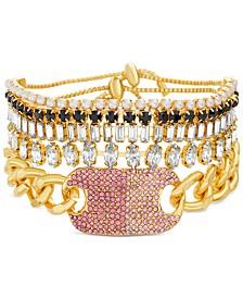 Gold-Tone 5-Pc. Set Stone & Crystal Chain & Bolo Bracelets