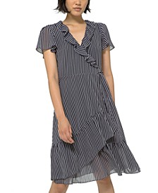 Striped Wrap Dress, Regular & Petite Sizes