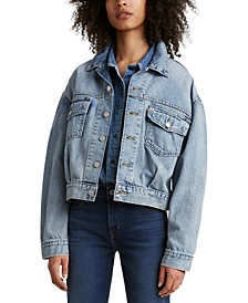 Cotton Oversized Utility Denim Trucker Jacket
