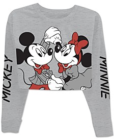 Juniors' Mickey & Minnie Cropped Long Sleeve T-Shirt