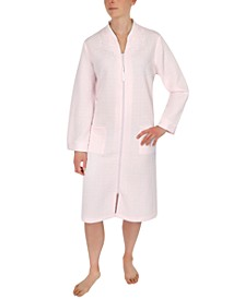 Quilted Embroidered Zipper Robe