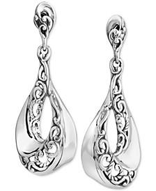 Filigree Swirl Drop Earrings in Sterling Silver