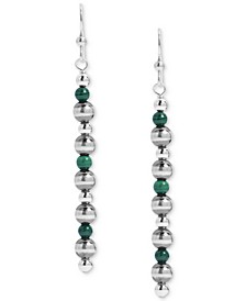 Malachite Bead Drop Earrings in Sterling Silver