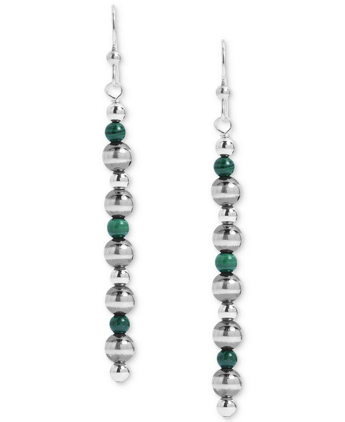 American West - Malachite Bead Drop Earrings in Sterling Silver