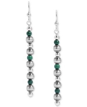 Malachite Bead Drop Earrings in Sterling Silver