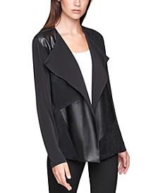 Plus Size Faux-Leather Flyaway Jacket