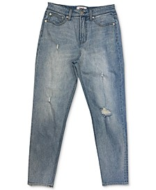 High-Rise Distressed Ankle Straight Jeans