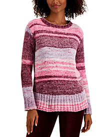 Petite Style & Co Printed Chenille Sweater, Created for Macy's