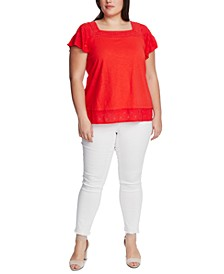 Plus Size Square-Neck Embroidered Eyelet Top