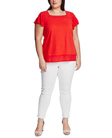 Vince Camuto Plus Size Square-Neck Embroidered Eyelet Top