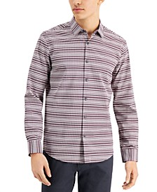 Men's Uneven Check Pattern Shirt, Created for Macy's