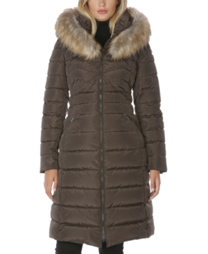 Laundry By Shelli Segal LAUNDRY BY SHELLI SEGAL FAUX-FUR-TRIM HOODED PUFFER COAT
