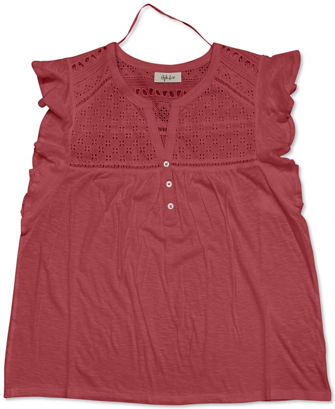 Style & Co Eyelet Flutter-Sleeve Top, Created for Macy's