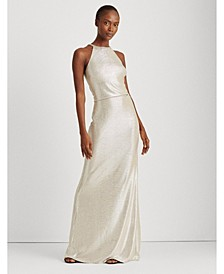 Metallic Halter-Neck Gown