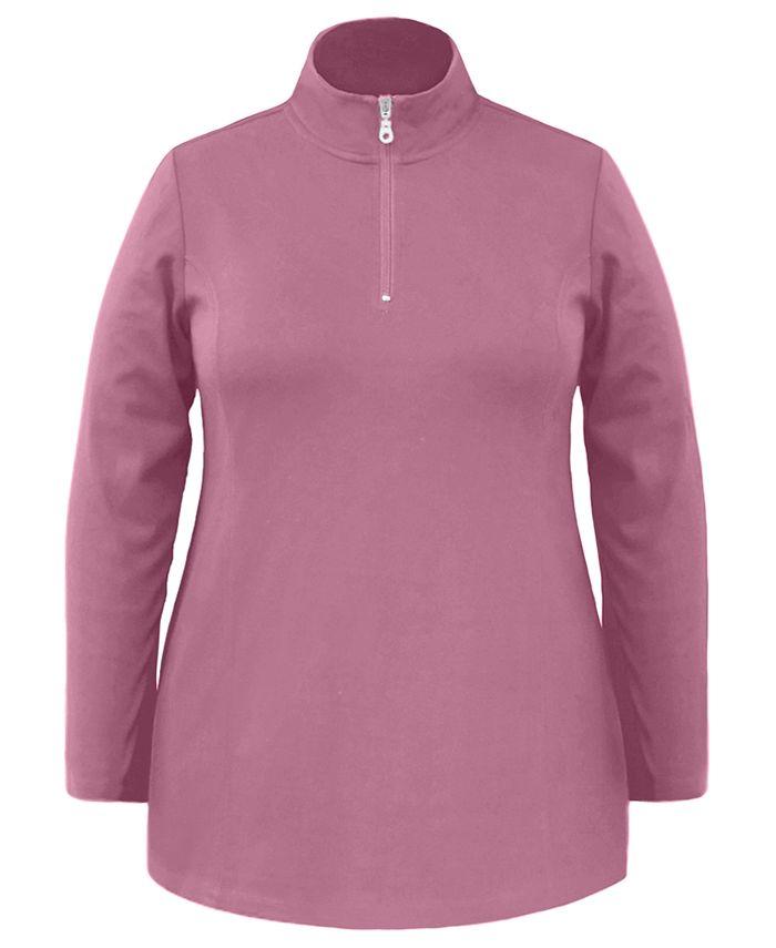 Karen Scott - Plus Size Half-Zip Tunic Top