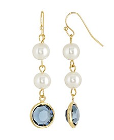 Gold-Tone Imitation Pearl with Dark Blue Channels Drop Earring