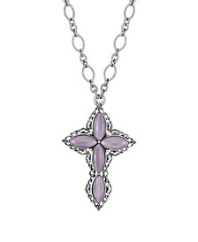 "Pewter Amethyst Diamond Shaped Stones Cross 24"" Necklace"