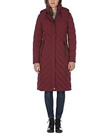 Hooded Stretch Maxi Puffer Coat