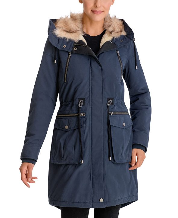Lucky Brand Faux-Fur Trim Hooded Anorak