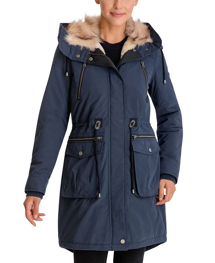 Lucky Brand - Faux-Fur Trim Hooded Anorak