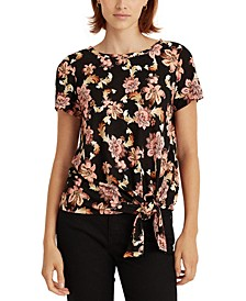 Self-Tie Floral Top