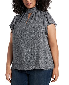 Trendy Plus Size Smocked Mock-Neck Blouse