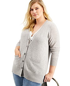 Plus Size Cashmere Boyfriend Cardigan Sweater, Created for Macy's