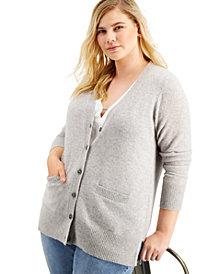 Charter Club Plus Size Cashmere Boyfriend Cardigan Sweater, Created for Macy's