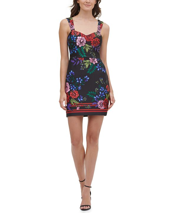 GUESS Printed Sweetheart Bodycon Dress