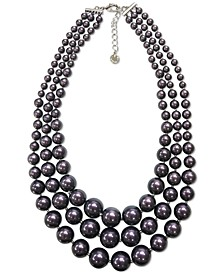 """Silver-Tone Imitation Pearl Triple-Row Statement Necklace, 17"""" + 2"""" extender, Created for Macy's"""