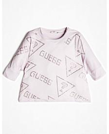 Big Girls Drop Shoulder Rhinestone Logo Short Sleeve T-Shirt