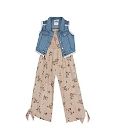 Big Girl Printed Chiffon Jumpsuit With Denim Vest
