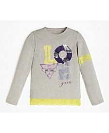 Big Girls Lace Trimmed Long Sleeve T-Shirt