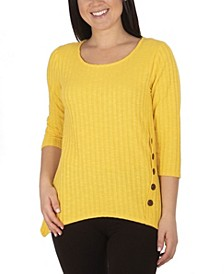 Women's Plus Size Button Detail Ribbed Tunic