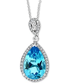 "EFFY® Blue Topaz (5-7/8 ct. t.w.) & Diamond (1/4 ct. t.w.) 18"" Pendant Necklace in 14k White Gold"