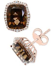 EFFY® Smoky Quartz (6-1/10 ct. t.w.) & Diamond (1/4 ct. t.w.) Stud Earrings in 14k Rose Gold